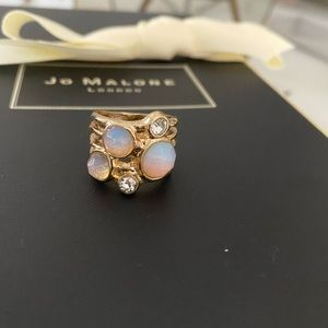 Costume jewelry faux opal and stone stacked ring